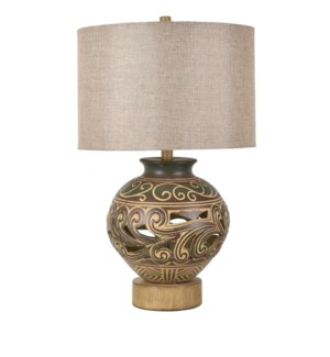 Sedona Carved Ceramic Table Lamp with Night Light