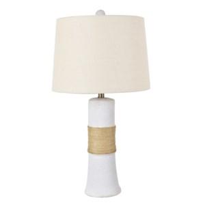 Addie Textured White Plaster Column Lamp