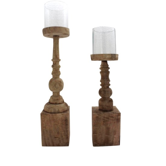 Antique Turned Wood Candlesticks