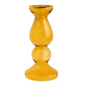 Miramar Medium Amber Blown Glass Pillar Candle Holder