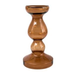 Miramar Medium Umber Blown Glass Pillar Candle Holder