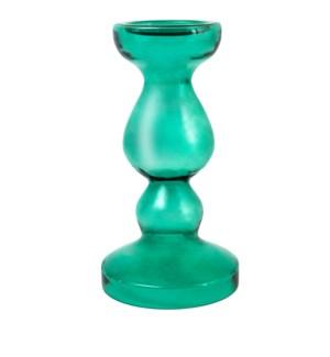 Miramar Medium Emerald Blown Glass Pillar Candle Holder