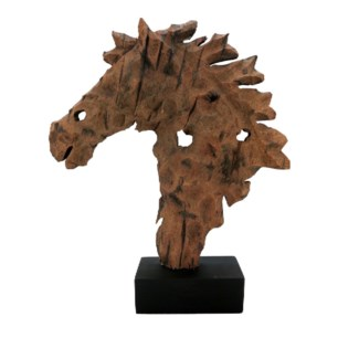 Rustic Wood Horse Bust Sculpture