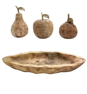 Assorted Fruits in Natural Wooden Bowl