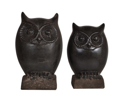"Night Owl Statues 9""/12.5""Ht."