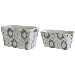 Ikat Handpainted Planters,Set of 2