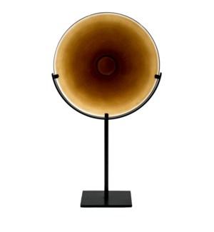 Miramar Tall Amber Blown Glass Disc with Stand