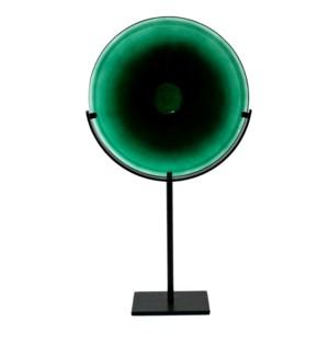 Miramar Tall Emerald Blown Glass Disc with Stand