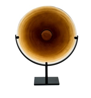 Miramar Short Amber Blown Glass Disc with Stand
