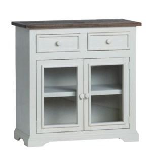 2 Glass Door 2 Drawer Cabinet