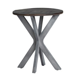Round Accent Table Grey W/ Wood Top