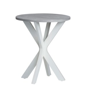 Round Accent Table White W/ Silver Top