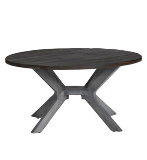 Round Cocktail Table Grey W/ Wood Top