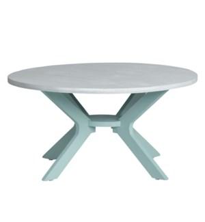 Round Cocktail Table Aqua W/ White Top