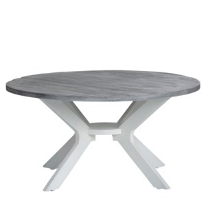 Round Cocktail Table White W/ Silver Top