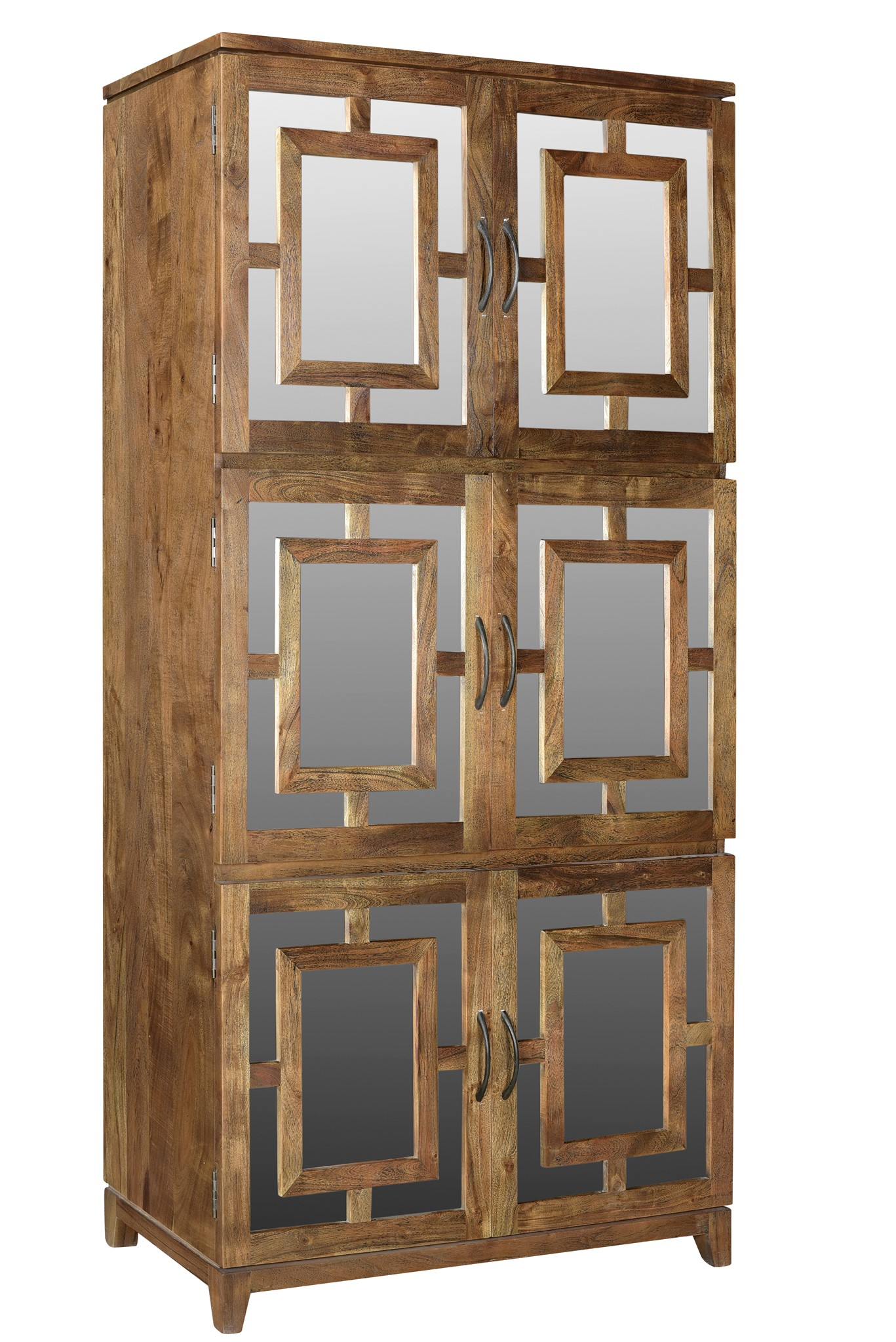 Bengal Manor Acacia Wood 6 Door Mirrored Tall Cabinet CVFNR463
