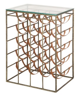 Bengal Manor Solid Iron Antique Brass Finish and Leather Wine Storage w/ Glass Top