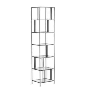 Berkley Narrow Metal and Glass Etagere
