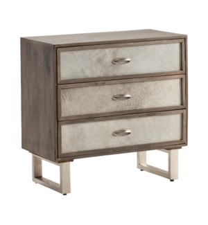 Theodore 3 Drawer Grey Cowhide Chest
