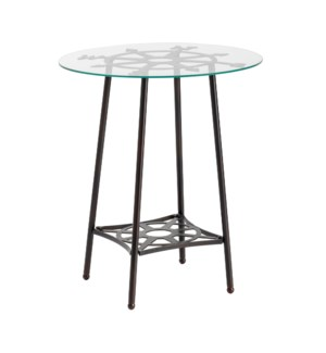 Explorer Round Metal and Glass End Table