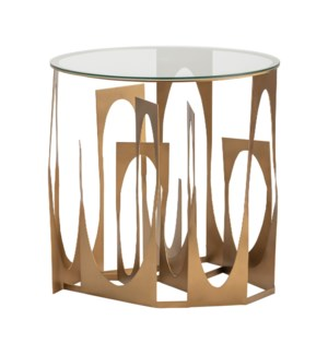 Vanderbilt Metal and Glass Accent Table