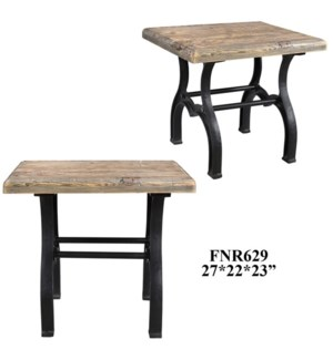 Bengal Manor Recycled Pine and Iron Rectangle End Table