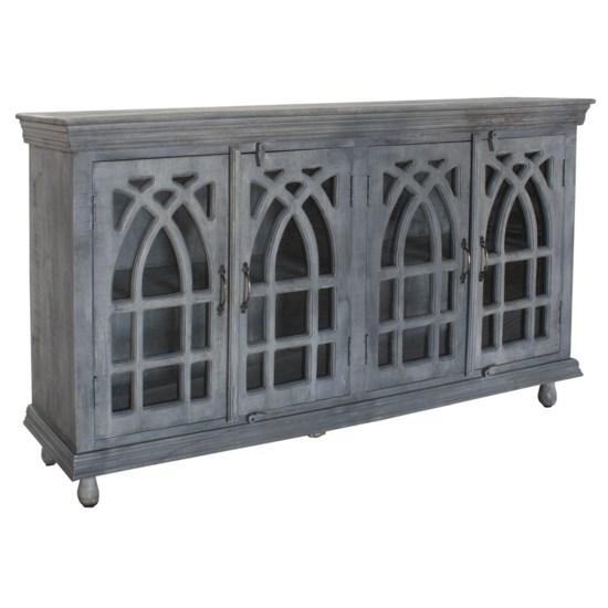 Bengal Manor Light Grey Mango Wood Cathedral Design 4 Door Sideboard