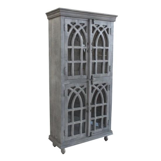 Bengal Manor Light Grey Mango Wood Cathedral Design 4 Door Cabinet
