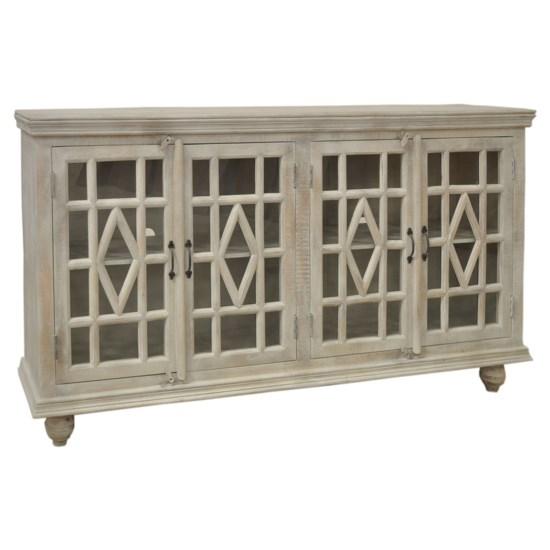 Southbrook Mango Wood White Wash 4 Door Sideboard