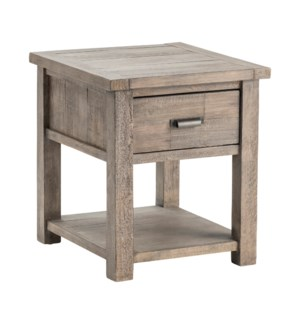 Pembroke Plantation Recycled Pine Distressed Grey 1 Drawer Rectangle End Table
