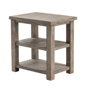 Pembroke Plantation Recycled Pine Distressed Grey Rectangle Chairside Table