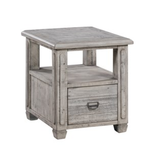 Pembroke Plantation Recycled Pine White Wash 1 Drawer Rectangle End Table