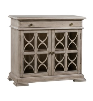 Hawthorne Estate 1 Drawer 2 Door Fretwork Cabinet Brushed Wheat Finish