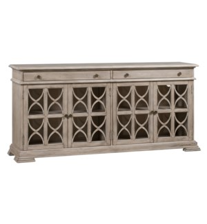 Hawthorne Estate 2 Drawer 4 Door Fretwork Sideboard Brushed Wheat Finish