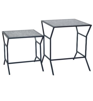 ORSON TABLE SET GUN METAL & ANTIQUE GLASS FINISH