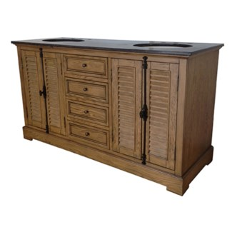 "Oak Ridge 4 Louvered Door / 4 Drawer 60"" Double Vanity Sink"
