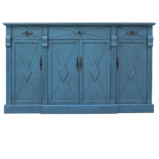 Everett 3 Drawer / 4 Door Breakfront Royal Blue Sideboard