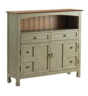 Bedford 2 Drawer / 2 Door Sage Grey Cabinet w/ Wood Top