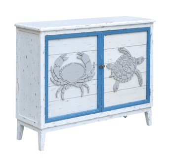 Block Island Whitewash 2 Door Crab and Turtle Cabinet