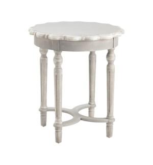Pembroke Turned Leg Chalk Grey Scalloped Accent Table
