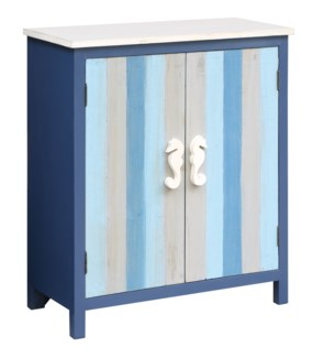 Nautical Blue and Grey Striped 2 Door Cabinet with Seahorse Hardware