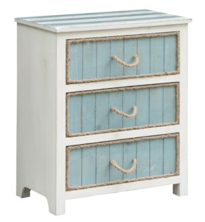 South Shore Blueish Grey and White 3 Drawer Rope Accent Chest