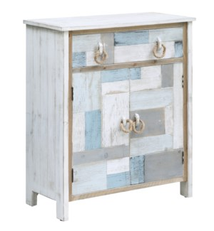 South Shore Multi Color Nautical Patchwork 1 Drawer, 2 Door Cabinet