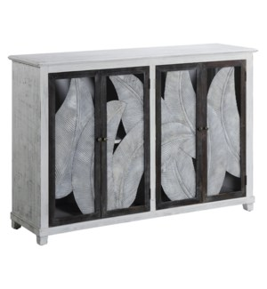 Biscayne 4 Door Metal Leaves and Whitewash Sideboard