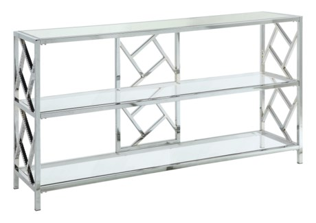 Hollywood Nickel Metal and Glass Console