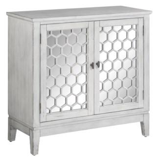 Summer 2 Door Hexagon and Mirror Brushed White Cabinet