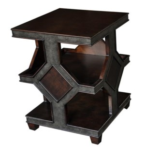 Ardent 3 Tier Square Two Tone Accent Table