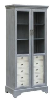 Joanna 2 Tone Cadet Blue Glass Door Cabinet w/ 5 Soft White Drawers