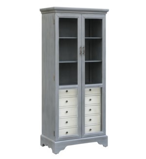 Joanna 2 Tone Cadet Blue Glass Door Cabinet w/ 5 Soft White Drawers