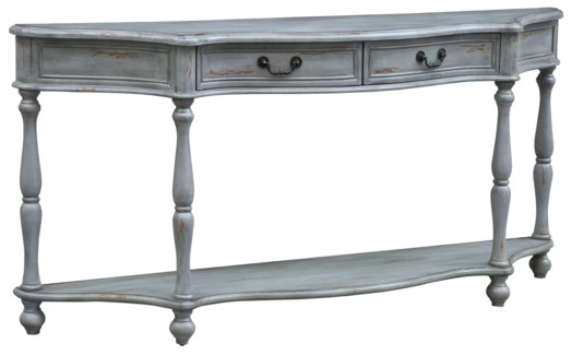 Cambridge Turned Leg Distressed Grey 2 Drawer Shaped Console